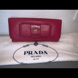 Authentic Prada saffiano leather bow long wallet